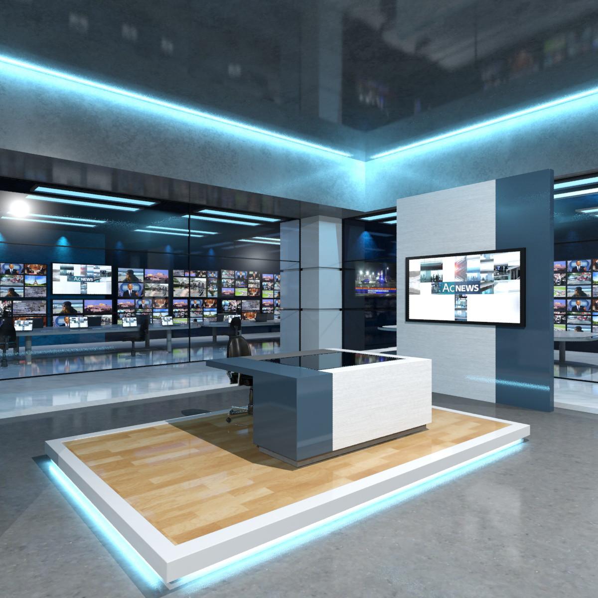 3ds max virtual set news studio