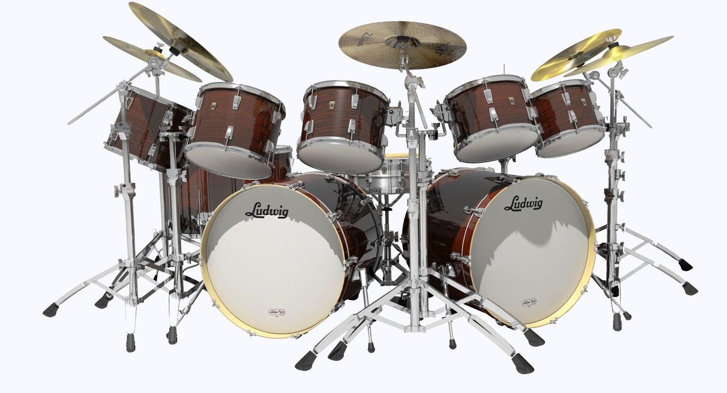ludwig classic maple drum kit 3d model