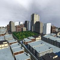 3d cityscape scene highrise