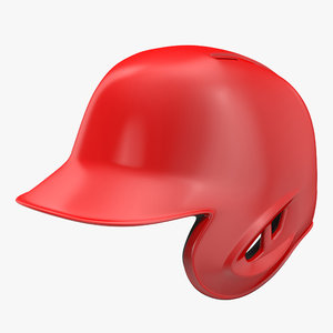 3d baseball helmet red 1