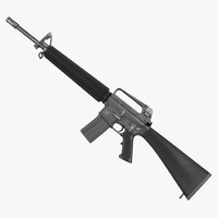 3d model of assault rifle m16 modeled