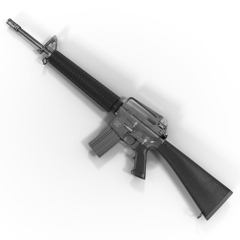3d model of assault rifle m16 modeled