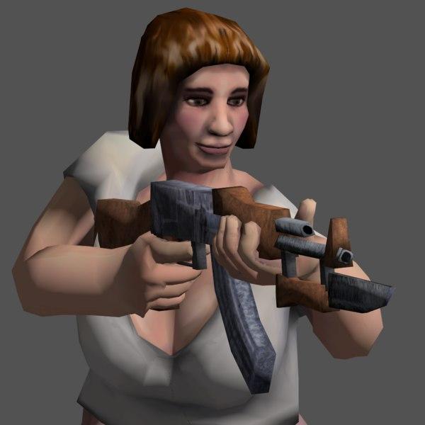 3ds max woman gun character