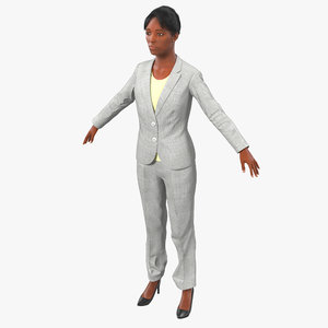 3d model business woman african american