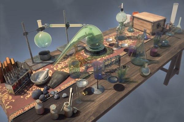 alchemical table 3d obj