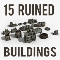3d ruined building damaged collections model