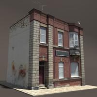 3d 3ds building exterior modeled
