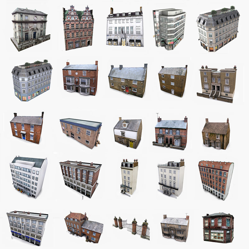 photorealistic european buildings set 3d max