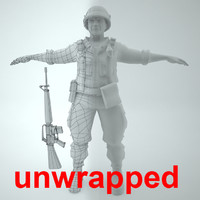 3d model unwrapped marine soldier vietnam