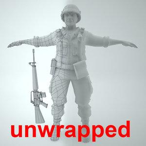 3d model unwrapped marine soldier vietnam