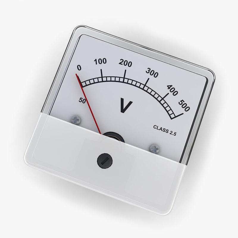 3d Model Dc Voltmeter 02 Voltmeters