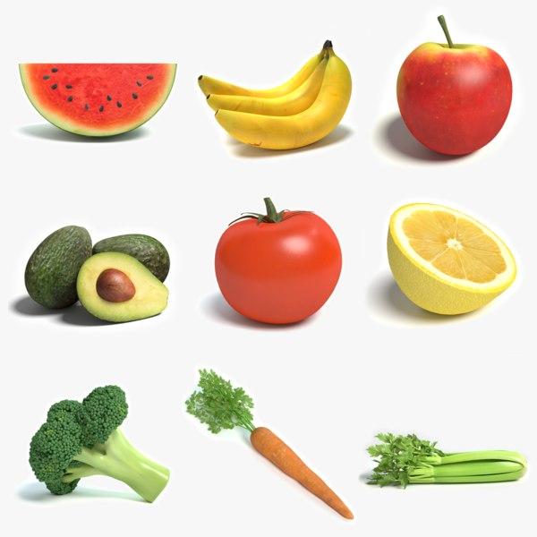 3d fruits vegetables