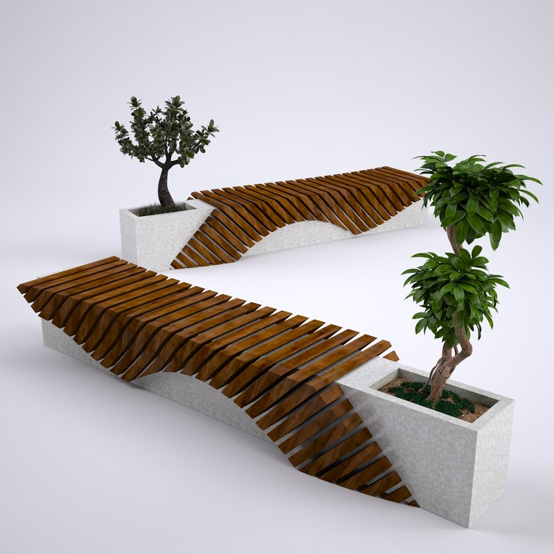 free park benches 3d model