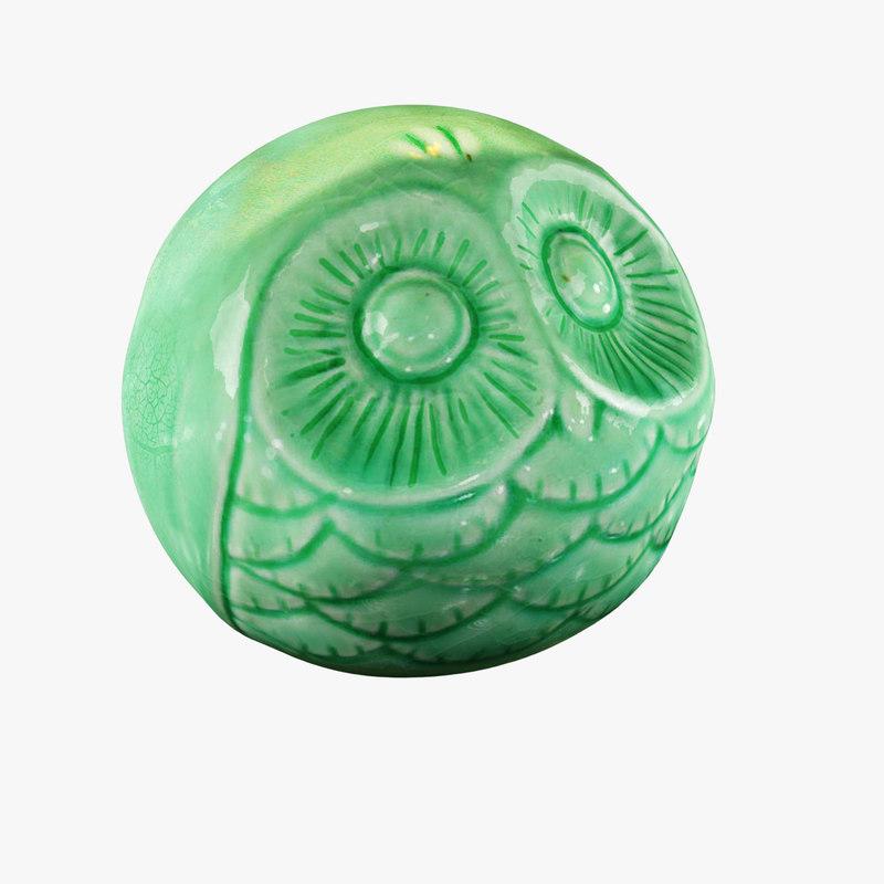 3dsmax figurine owl ceramic