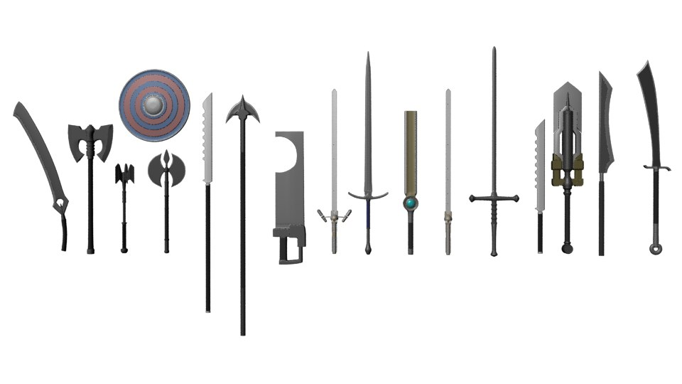 3d weapons shield axes