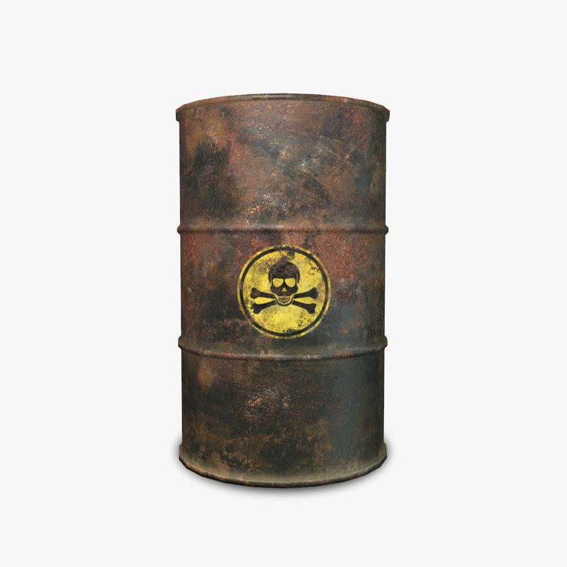 3d barrel toxic rusty model