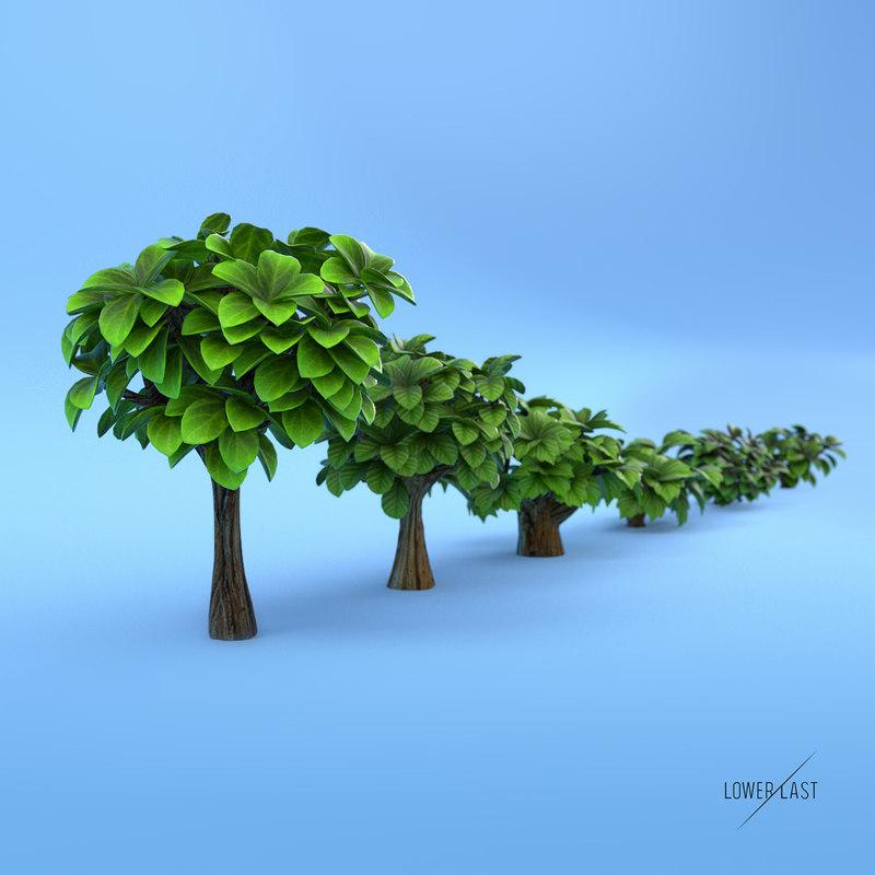 obj miniature trees bushes