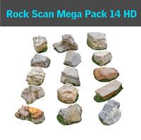 3d jurassic rock pack 14 model