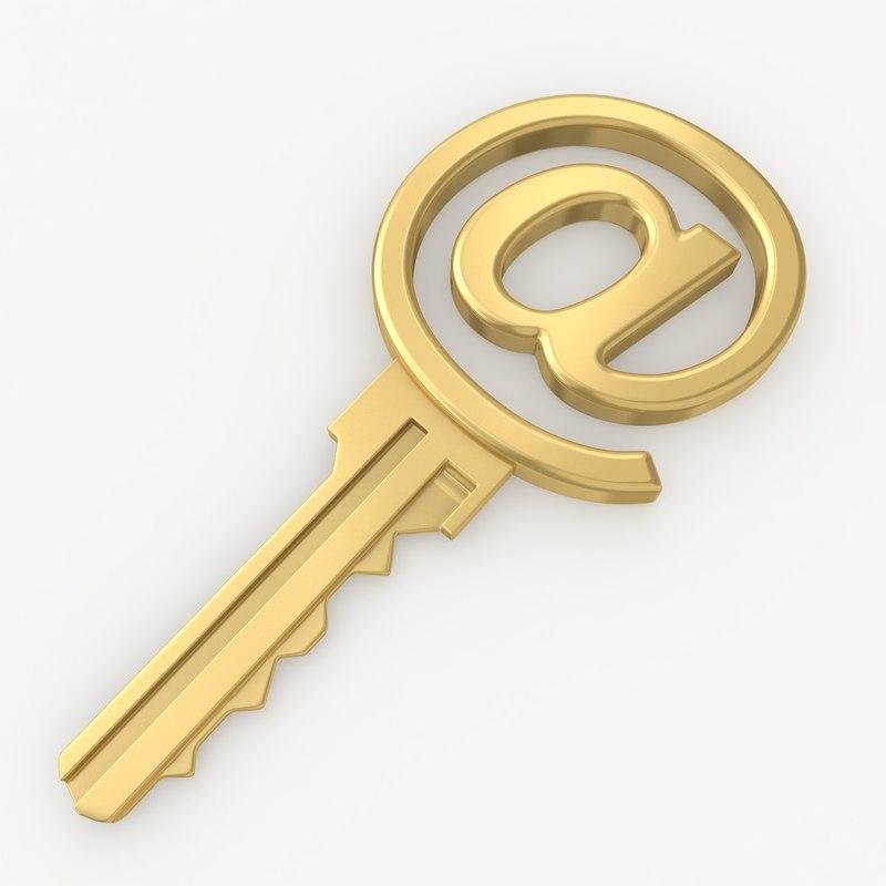 3d model of realistic symbol key set