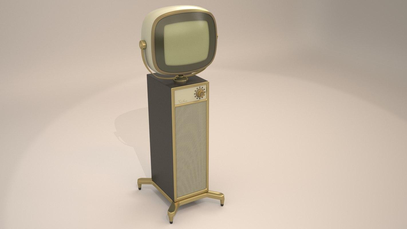 3d model of retro tv