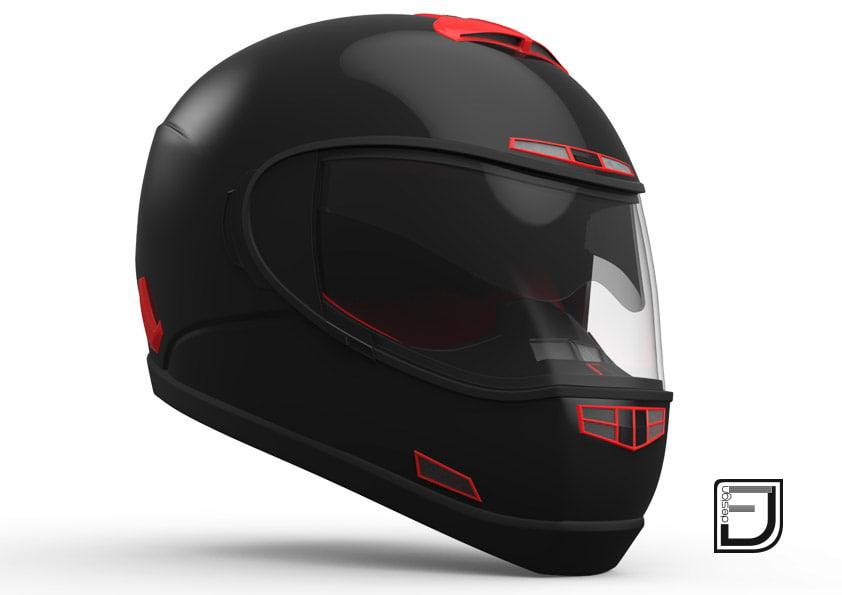 3d black red helmet h07 model