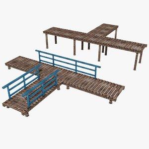 3d wooden platform model