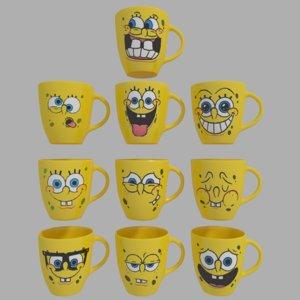 free cups spongebob 3d model
