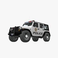 jeep wrangler police car 3d max