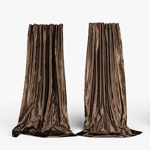 silk curtains 3d model