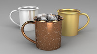 Mug 3D model with icecubes