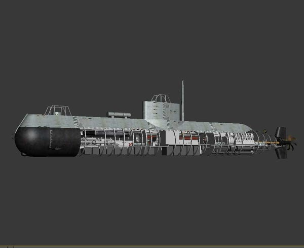 3d model submarine torpedo