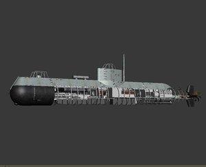 3d model submarine torpedo