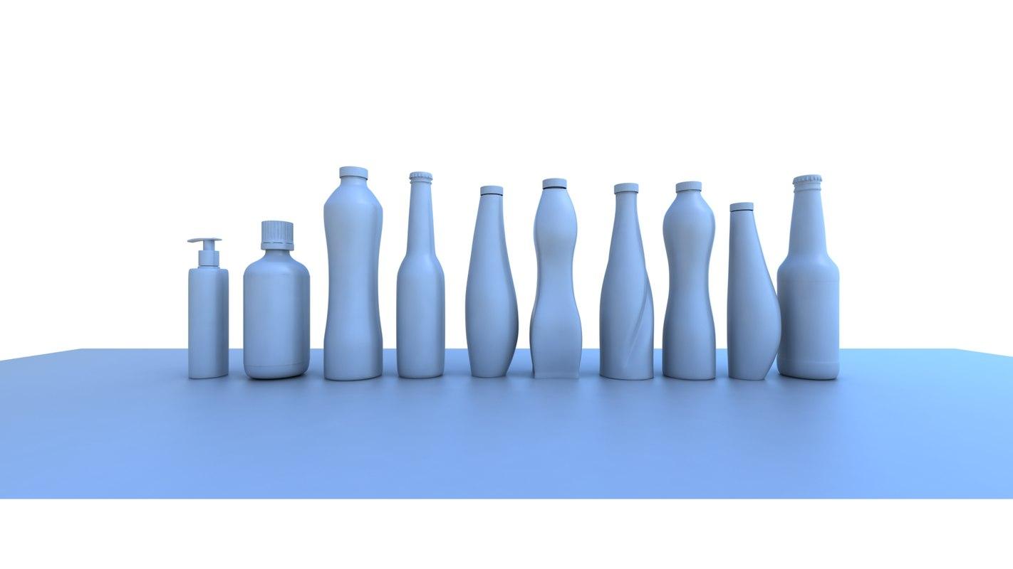 various bottles 3d max