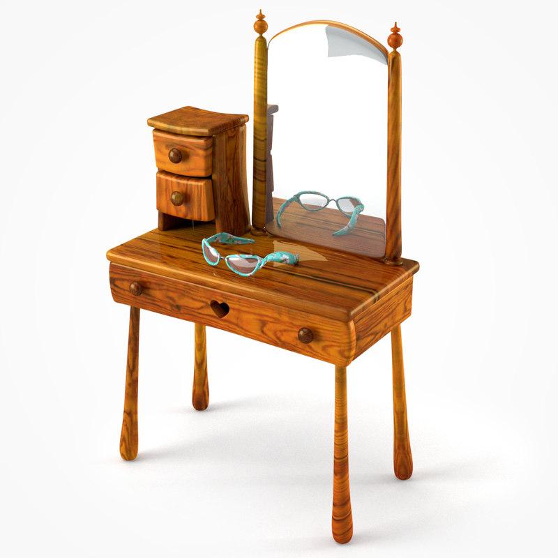 doll wooden make table 3d model