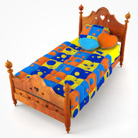 3d model of doll wooden bed