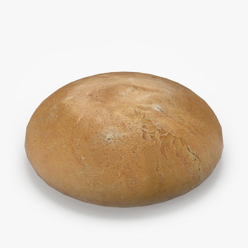 3d realistic white wheat bread