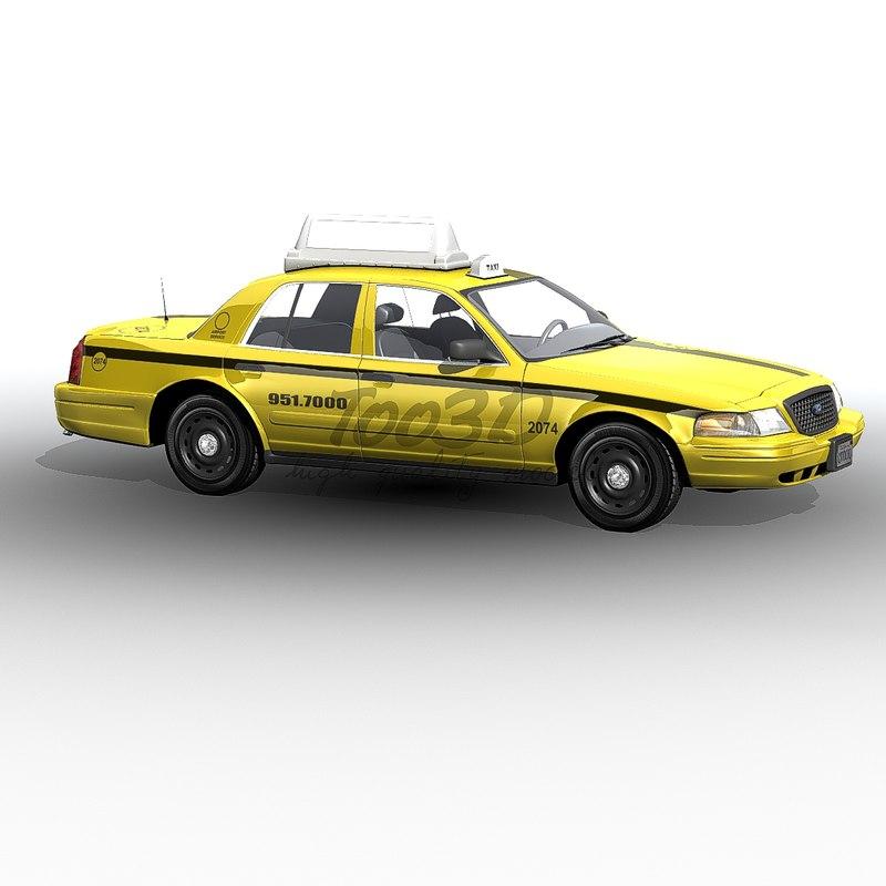 3d model crown victoria yellow cab