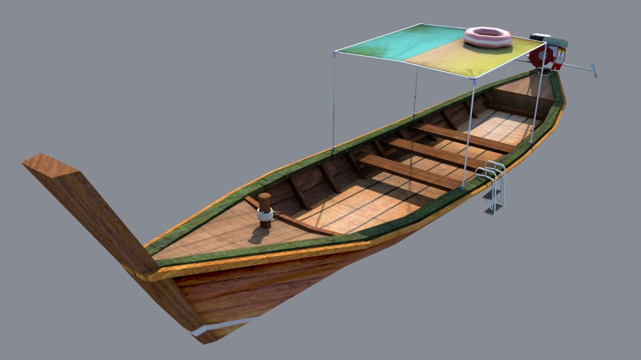 authentic long-tail boat engine 3d ma
