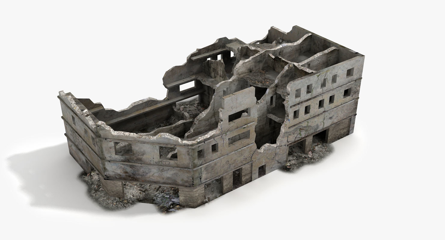 destroyed ruined building world war 3d max