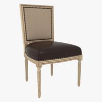 Palecek Lyon Square Back Side Chair Linen