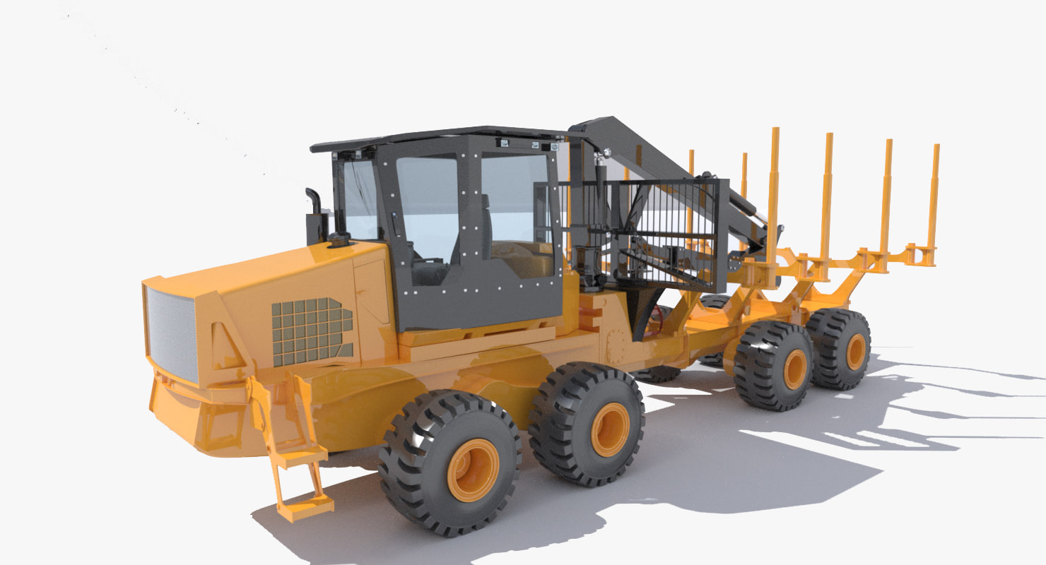 3d model of forwarder forestry vehicle