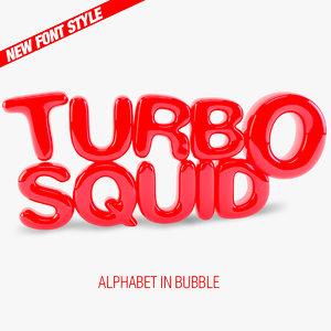 bubble alphabet letters font c4d