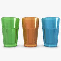 3d model drink glass 3 colors