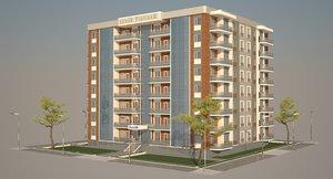 3d model modern building city house