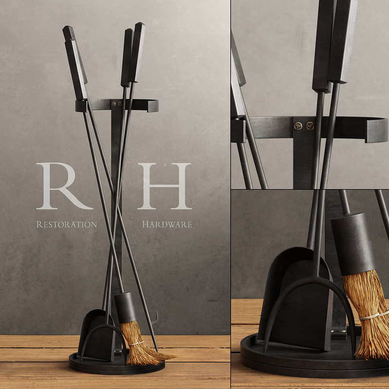 3d industrial hearth tool set model
