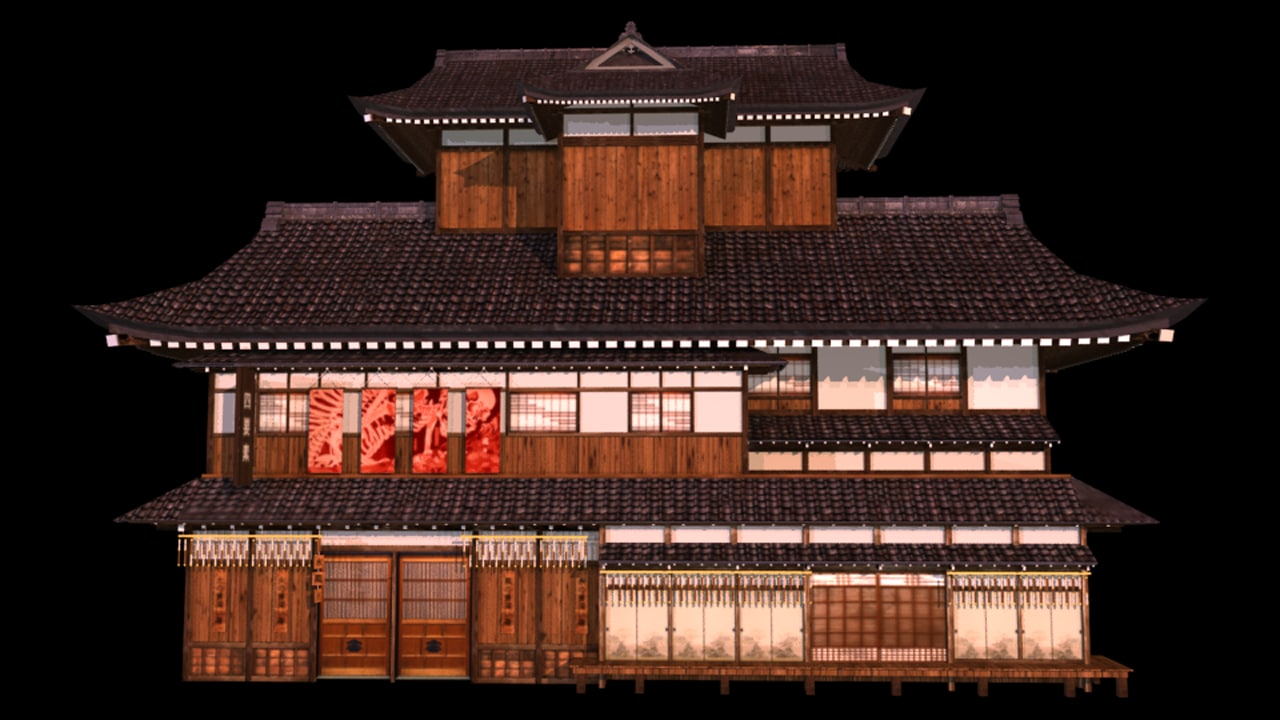 japanese old tradition house building 3d model