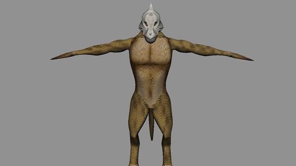 humanoid lizard 3d fbx