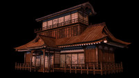 3d model japanese old tradition house building