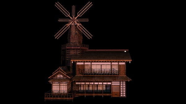 3d japanese old tradition house building model