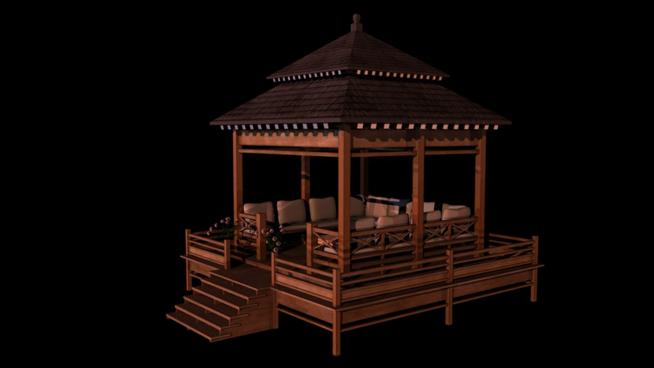 3d model japanese old building